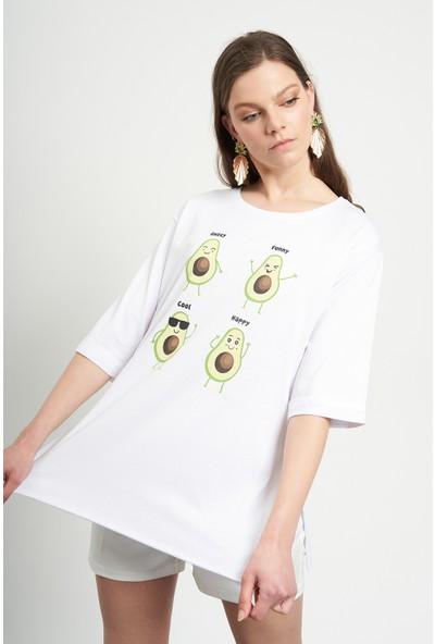 Tena Kadın Beyaz Avakado Baskılı Tişört