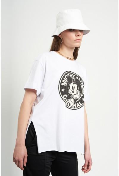 Tena Kadın Beyaz Eskitme Mickey Mouse Baskılı Tişört