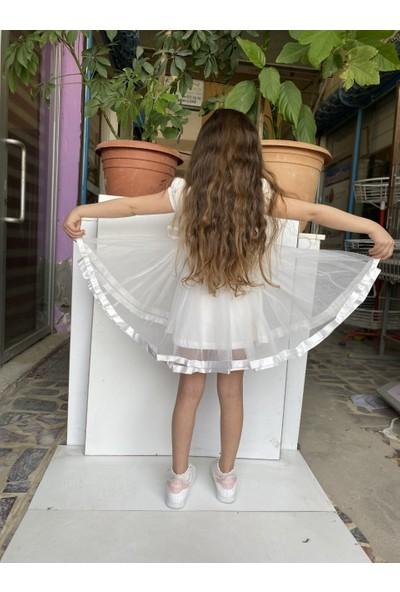 Baby Kız Çocuk Kısa Kol Elbise Ekru 14251-