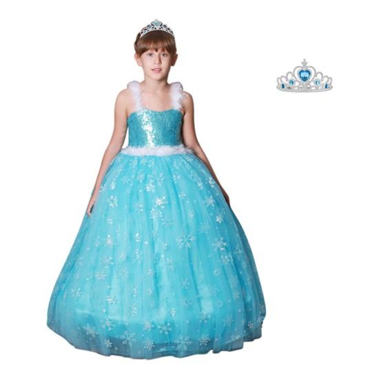 Butik Happy Kids Butikhappykids Frozen Elsa Kostümü Askılı Kasnaklı Kabarık Elbise Taç