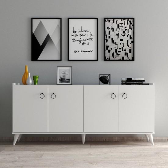Tanmob Modern Konsol Beyaz KSL0101