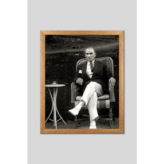 Lumiyard 40 x 50 cm Çerçeveli Camlı Tablo Atatürk 3