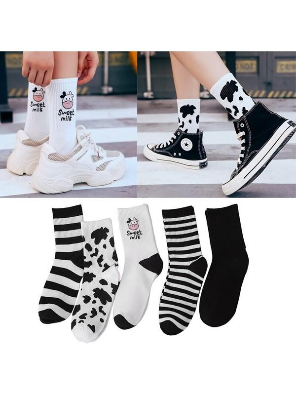 Çorapmanya Kadın 5 Çift Siyah + Beyaz Inek Desenli Çizgili Tenis Çorabı