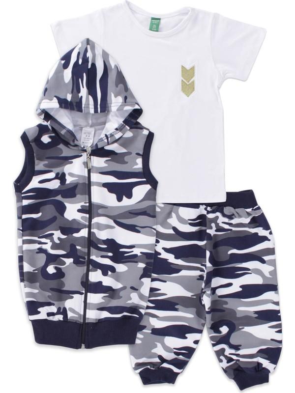 Enza Moda Gri Kamuflaj Yelekli Kaprili Erkek Çocuk Eşofman Takımı