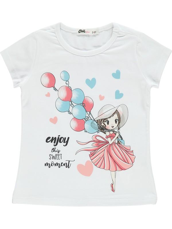Civil Girls Kız Çocuk Tişört 2-5 Yaş Beyaz