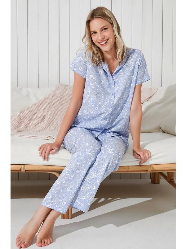 Penti Mavi Leofloral Gömlek Pantolon Takımı