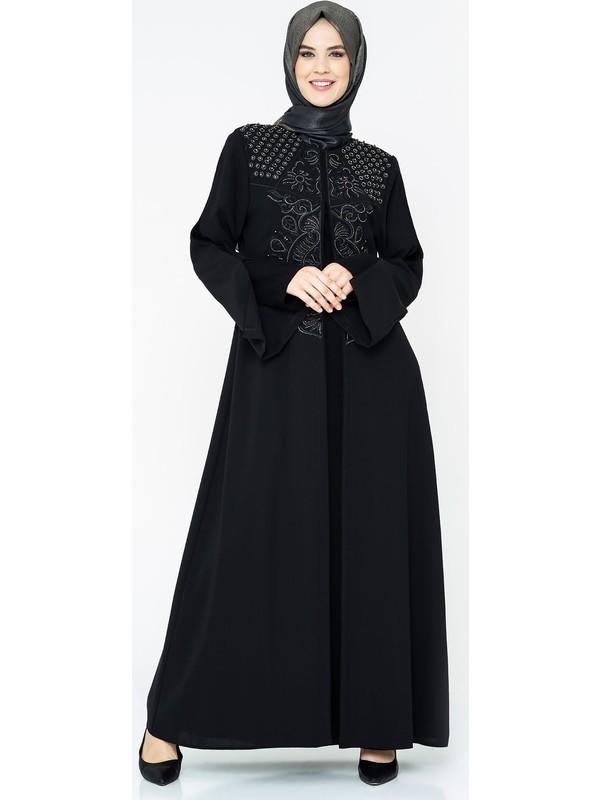 Nakış Işlemeli Iç Elbiseli Siyah Tesettür Abiye Elbise 5064