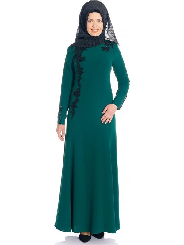 Balık Yeşil Tesettür Abiye Elbise 490