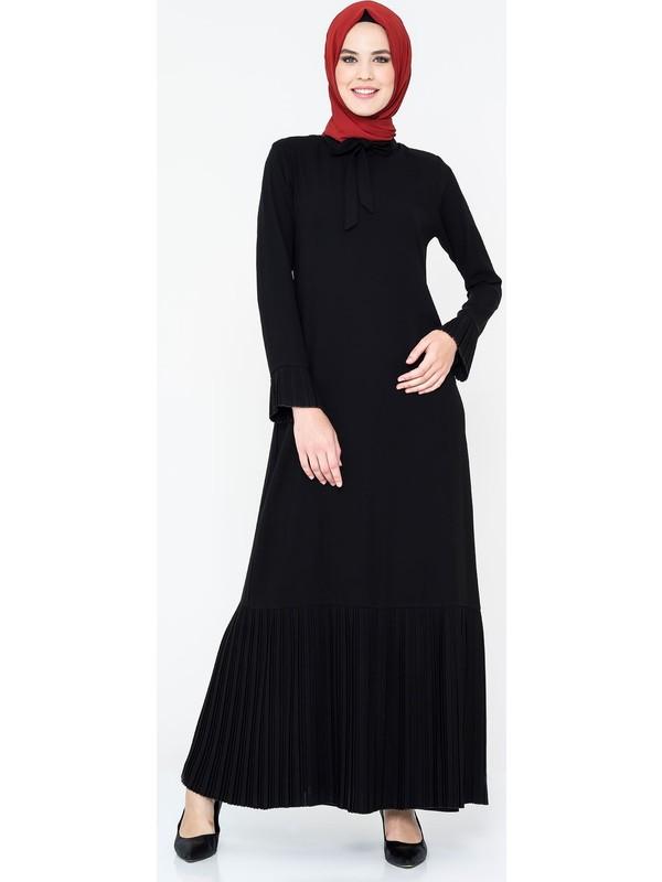 Beyza Piliseli Siyah Tesettür Elbise 764-3