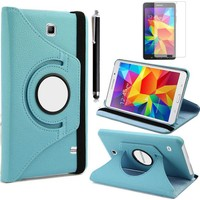 Canpay Samsung Galaxy T230 Kılıf Standlı Pu-Leather Desing Tablet Kılıfı+Cam+Kalem Mavi