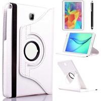 Canpay Samsung Galaxy T530 Kılıf Standlı Pu-Leather Desing Tablet Kılıfı+Cam+Kalem Beyaz