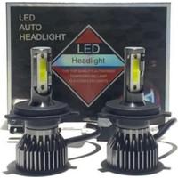 Ledmax H4 Mini/slim Şimşek LED Xenon Far Ampul 8000LM 6500K Beyaz Renk, Fan Soğutuculu