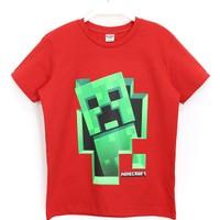 Minecraft 3D Creeper Baskılı Çocuk Tişört 5 - 14 Yaş Kırmızı