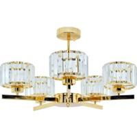 Erko Aydınlatma Luxury Modern Kristal Taşlı 5 Kollu Gold Sarkıt Avize