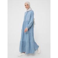 Doğal Kumaşlı Büzgü Detaylı Maksi Kot Elbise - Buz Mavi - Benin