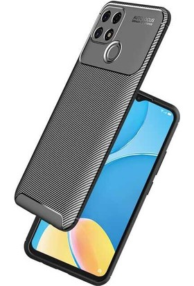 Tekno Grup Oppo A15 Kılıf Karbon Desenli Lux Silikon + Nano Ekran Koruyucu Kahverengi
