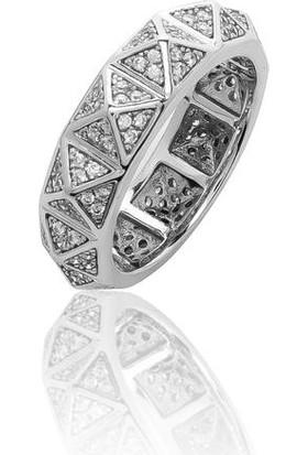 Glint Point Zımba Desenli Zirkon Taşlı Gümüş Yüzük