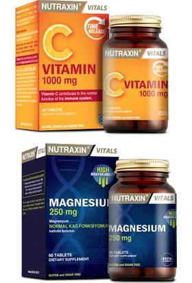 Nutraxin Magnezyum Takviyesi 250 Mg 60 Tablet + C Vitamini 1000 Mg 30 Tablet