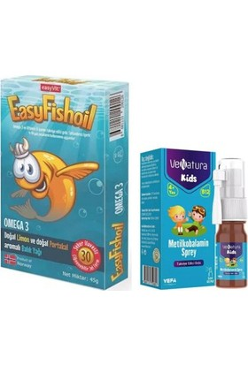 Çocuklar Için Set- Omega 3 Balık Yağı 30 Çiğnenebilir Jel Form + Venatura B12 Vitamini 5 ml Sprey