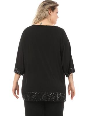Zer Otantik Kol ve Eteği Payetli Büyük Beden Tunik Siyah