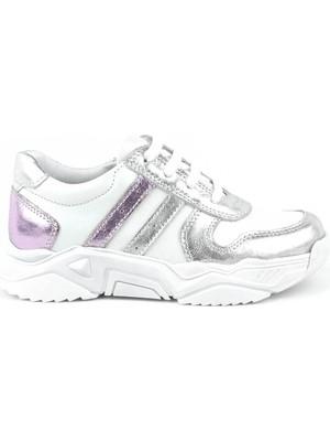 Rakerplus® Rakerplus Deri Gümüş Pembe Kalın Tabanlı Kız Çocuk Sneaker