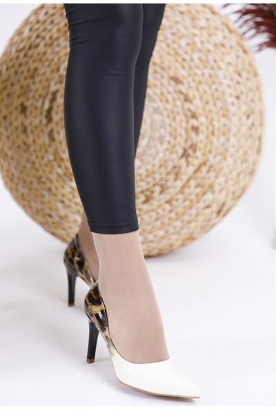 Park Moda Leopar Baskı Beyaz Rugan Kadın Stiletto