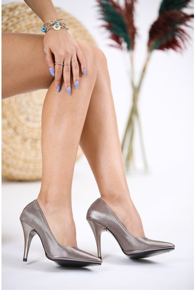 Tuğrul Ayakkabı Ince Topuklu Platin Cilt Stiletto