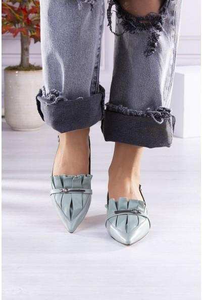 Park Moda Metal Aksesuarlı Ökçe Detaylı Topuklu Yeşil Kadın Ayakkabı