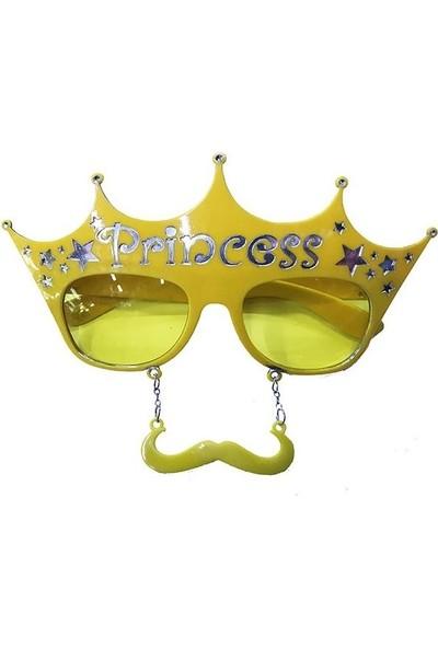 Samur Sarı Renk Prenses Yazılı Bıyıklı Parti Gözlüğü