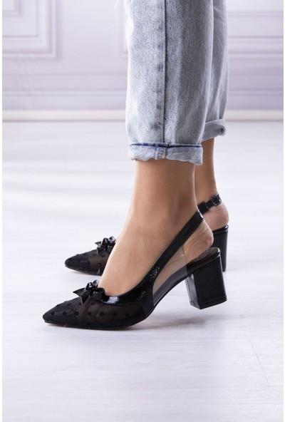 Park Moda Tül Detaylı Arkası Açık Siyah.rugan Kadın Topuklu Ayakkabı