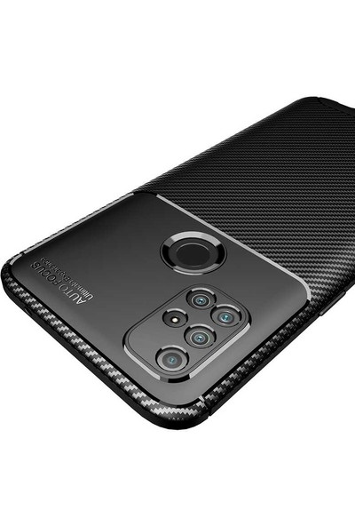 Tekno Grup Oneplus Nord N10 Kılıf Karbon Desenli Lux Silikon + Nano Ekran Koruyucu Siyah