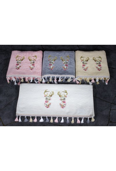 Begenal Home Begenalhome Geyik El ve Yüz 4'lü Havlu Seti 50 x 90 cm Pamuklu