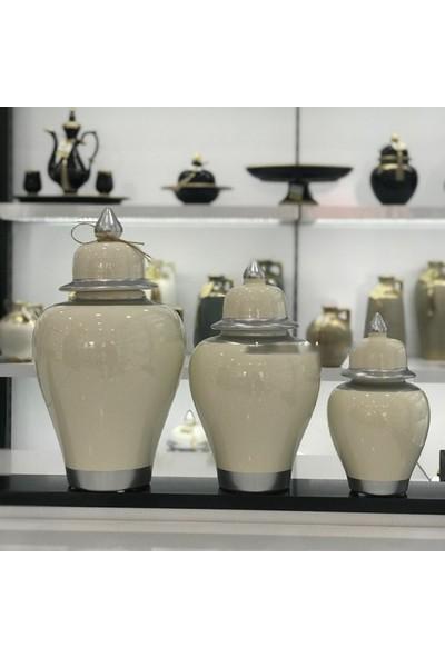 Bianco Seramik Yapım Gümüş Çizgi Desen Beyaz Renk Dekoratif 3'lü Şah Küp