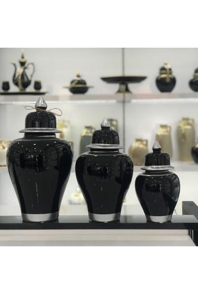 Bianco Seramik Yapım Gümüş Çizgi Desen Siyah Renk Dekoratif 3'lü Şah Küp