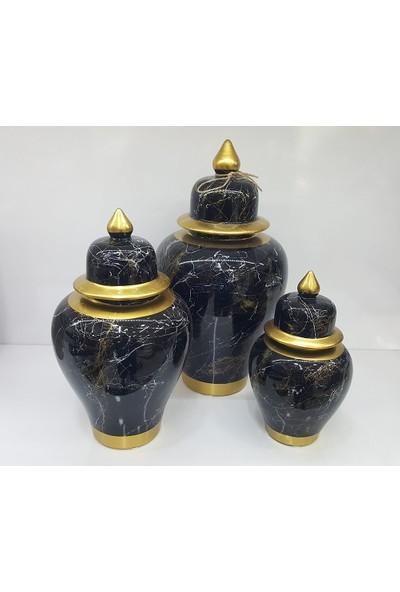 Bianco Seramik Yapım Altın Çizgi Mermer Desen Siyah Renk Dekoratif 3'lü Şah Küp