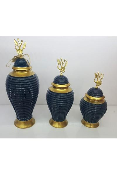 Bianco Seramik Yapım Altın Çizgi Desen Japon Güllü Mavi Renk Dekoratif 3'lü Küp