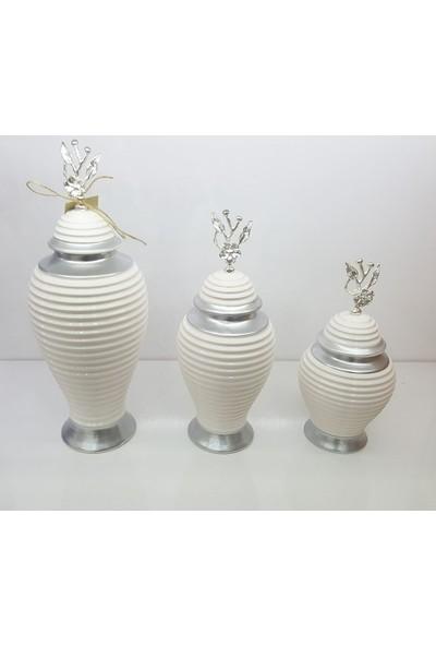 Bianco Seramik Yapım Gümüş Çizgi Desen Japon Güllü Beyaz Renk Dekoratif 3'lü Küp