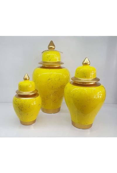 Bianco Seramik Yapım Altın Çizgi Mermer Desen Sarı Renk Dekoratif 3'lü Şah Küp