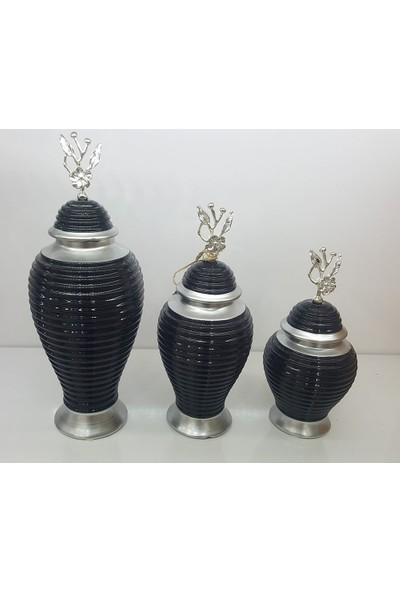 Bianco Seramik Yapım Gümüş Çizgi Desen Japon Güllü Siyah Renk Dekoratif 3'lü Küp