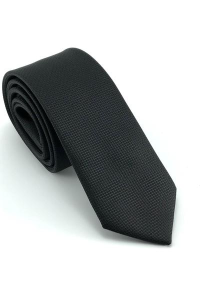 Pierroni Siyah Oxford Desen Slim Kravat