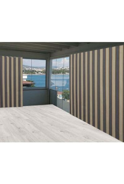 Ceylan Home Balkon Perdesi Brandası Gri Sarı Çizgili 650 x 200