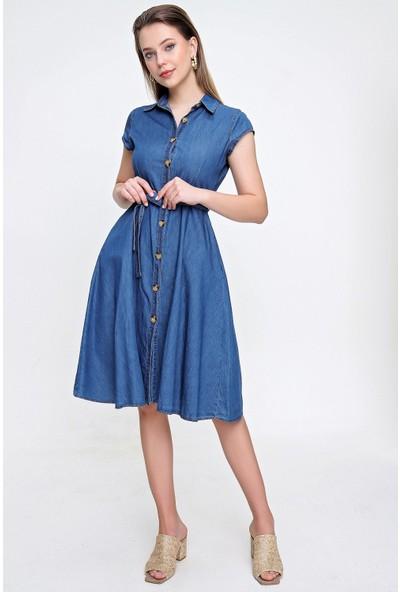 Butikburuc Kadın Koyu Mavi Bel Kuşaklı Sıfır Kol Kot Elbise