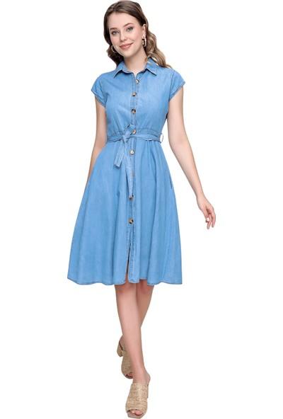 Butikburuc Kadın Açık Mavi Bel Kuşaklı Sıfır Kol Kot Elbise