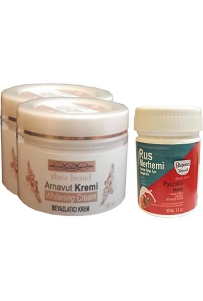 Three Brand Whitening Cream 100 ml Arnavut Kremi Aklık Kremi 2 Ad + Rus Merhemi Genital Bölge Kremi 50 ml 1 Ad