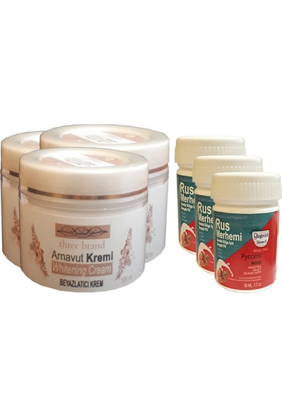 Three Brand Whitening Cream 100 ml Arnavut Kremi Aklık Kremi 3 Adet + Rus Merhemi Genital Bölge Kremi 50 ml 3 Adet