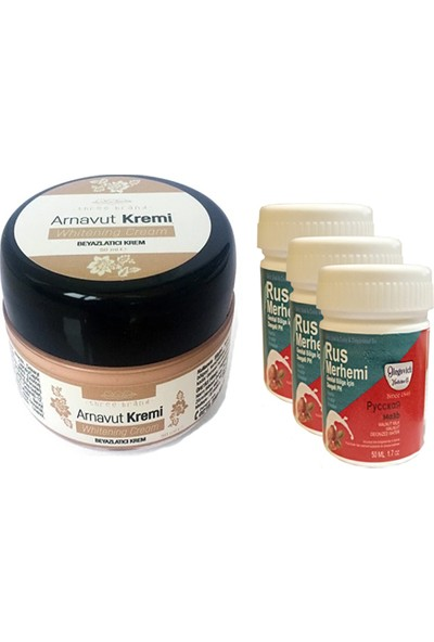 Three Brand Whitening Cream 50 ml Arnavut Kremi Aklık Kremi 1 Adet + Rus Merhemi Genital Bölge Kremi 50 ml 3 Adet