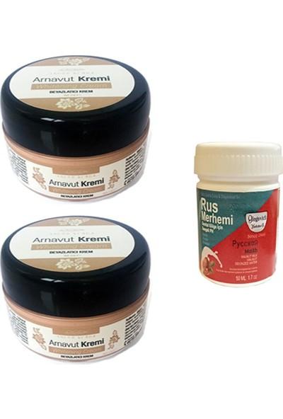 Three Brand Whitening Cream 50 ml Arnavut Kremi Aklık Kremi 2 Adet + Rus Merhemi Genital Bölge Kremi 50 ml 1 Adet
