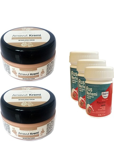 Three Brand Whitening Cream 50 ml Arnavut Kremi Aklık Kremi 2 Adet + Rus Merhemi Genital Bölge Kremi 50 ml 3 Adet
