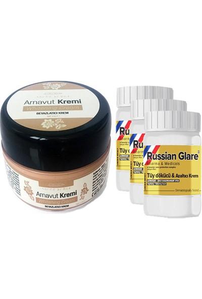 Three Brand Whitening Cream 50 ml Arnavut Kremi Aklık Kremi 1 Adet + Russıan Glare Tüy Dökücü Azaltıcı Merhem 50ML 3 Adet