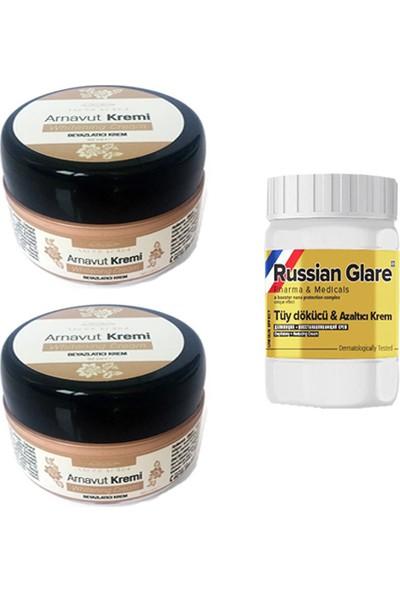 Three Brand Whitening Cream 50 ml Arnavut Kremi Aklık Kremi 2 Adet + Russıan Glare Tüy Dökücü Azaltıcı Merhem 50ML 1 Adet